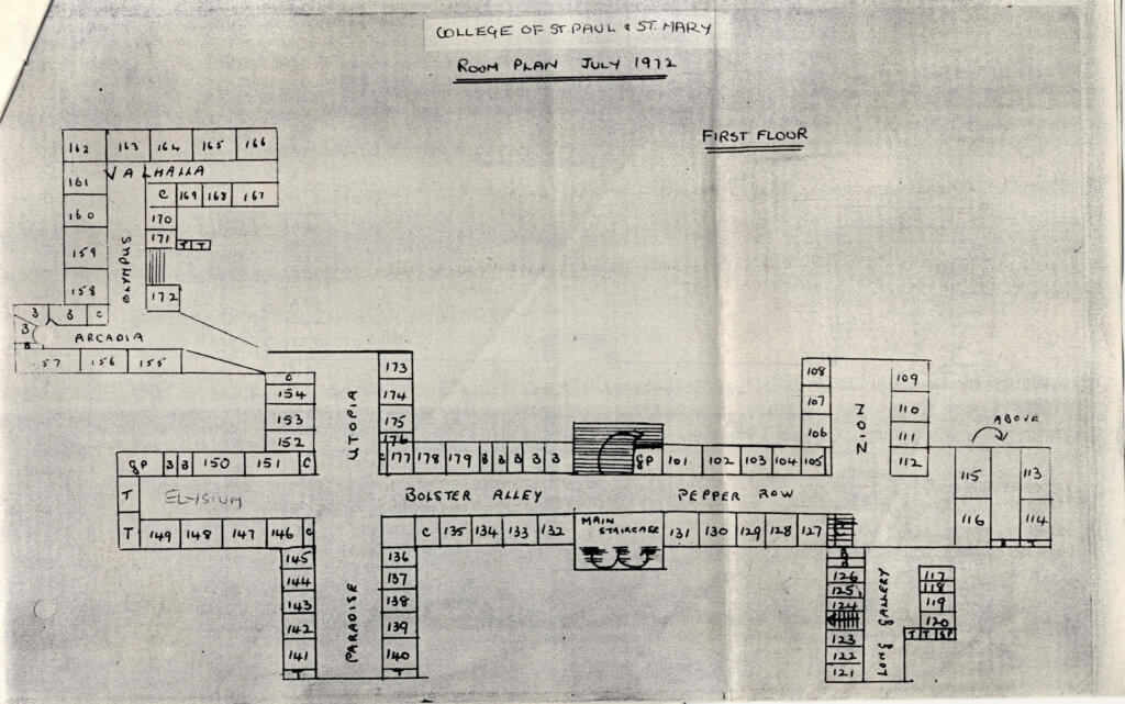 Francis Close Hall Dormitory Plan 1972 1st floor