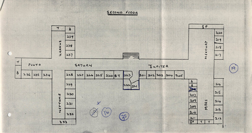 Francis Close Hall Dormitory Plan 1972 2nd floor