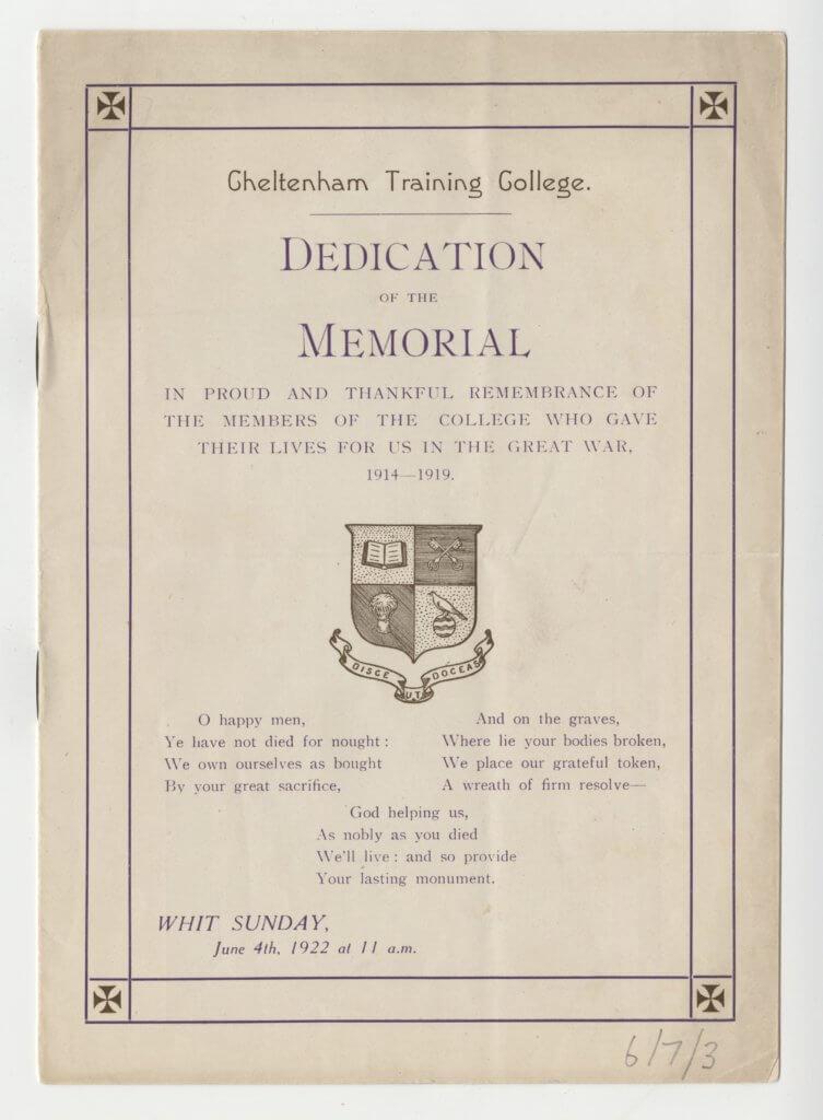 Cheltenham Training College WWI Memorial Dedication programme 1922