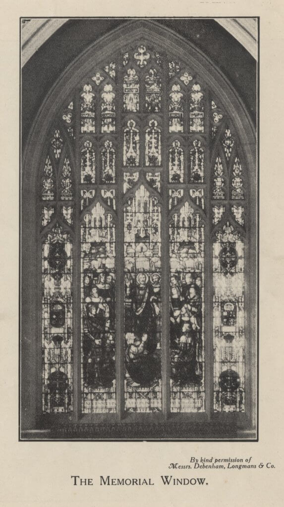 Memorial Window in St Paul's Chapel c1922 [Image from the Special Collections and Archives, University of Gloucestershire]