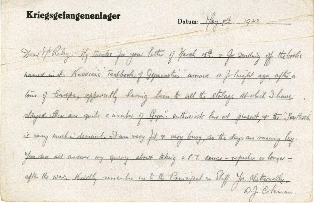 WJ Coleman. German Prisoner of War. 9th May 1945.