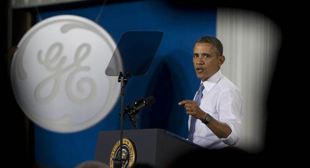 President Barack Obama made the comments at a speech at a General Electric plant in Wisconsin, January 2014